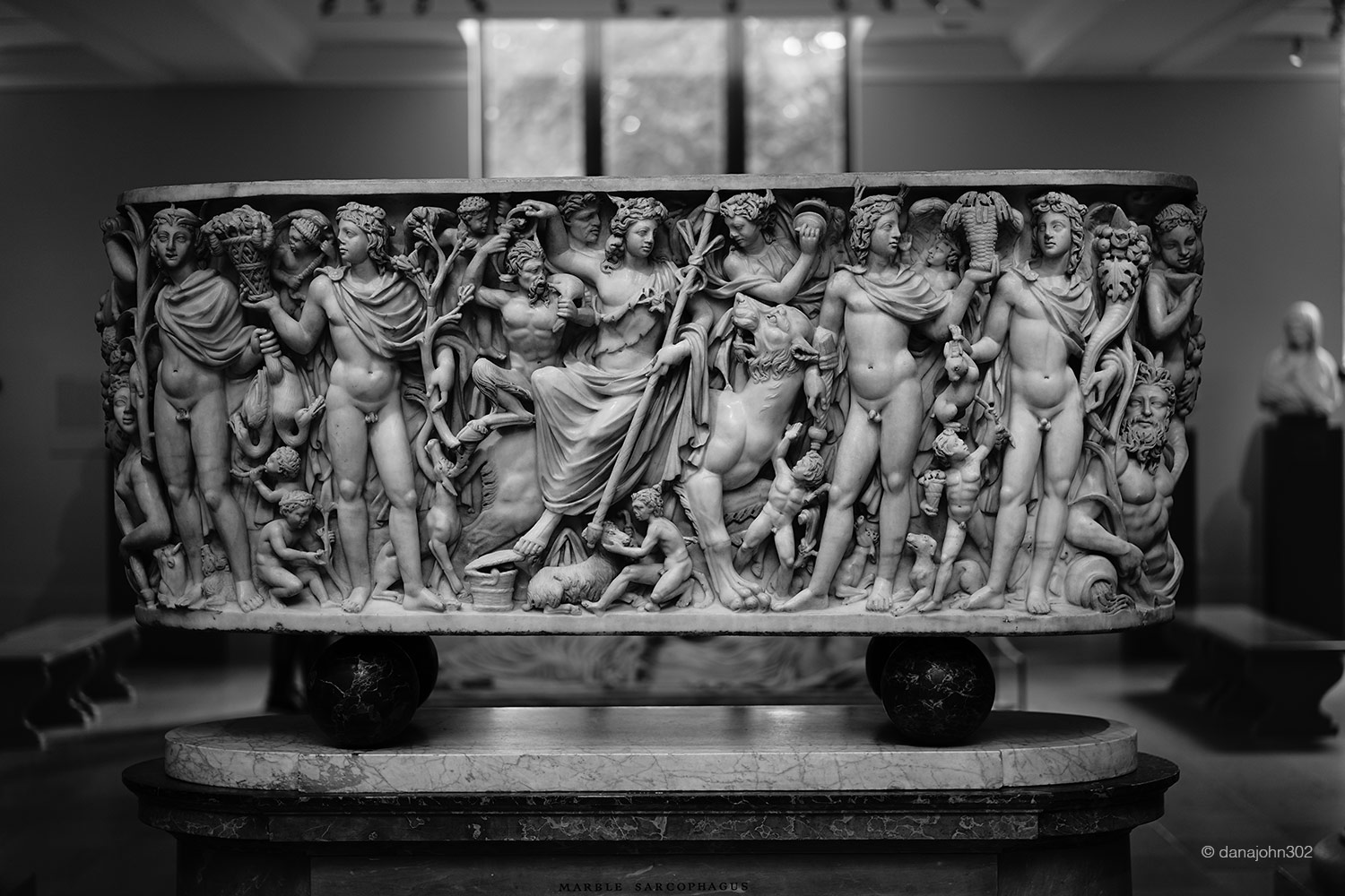 Marble sarcophagus with the Triumph of Dionysos and the Seasons at the Metropolitan Museum of Art